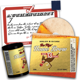 """Preorder Pack 2 - The Pigs' Home Brew CD & Stubby Cooler & 1"""" Singlet Square"""