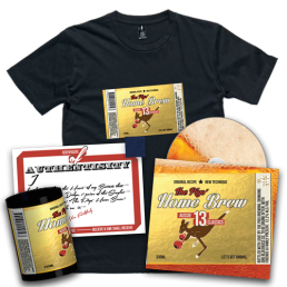 """Preorder Pack 4 - The Pigs' Home Brew CD & Home Brew T-Shirt & Stubby Cooler & 1"""" Singlet Square"""